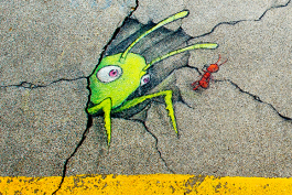 One of David Zinn's drawings at Kerrytown Market