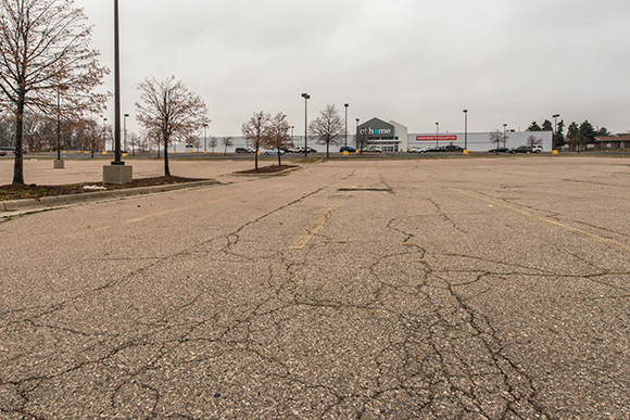 An empty parking lot on Washtenaw Avenue