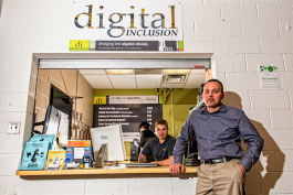 L to R Ryan Dixon and Jack Bidlack at the Digital Inclusion store at EMU