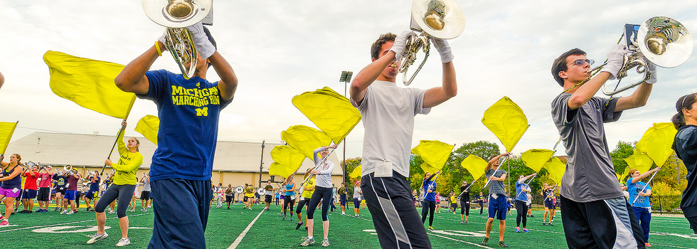 The U of M Marching Band practices on Wines Field - Ann Arbor