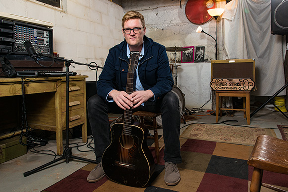 Matt Jones in his Ypsilanti basement where the anthology recordings started