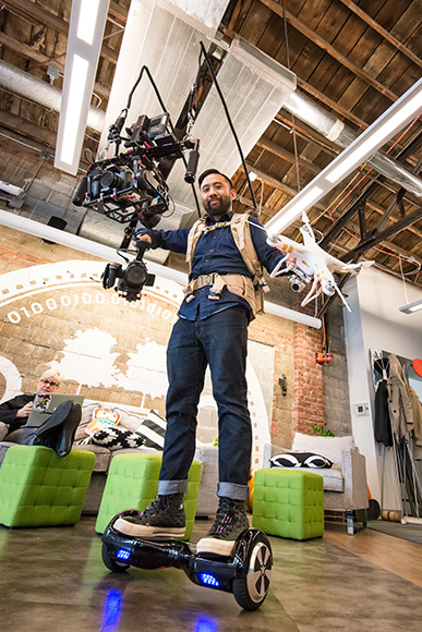 Rik with his DIY Backpack Gimbal Stabilizer