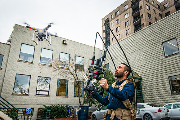 Rik Cordero flying a video quadcopter outside of Duo Security offices
