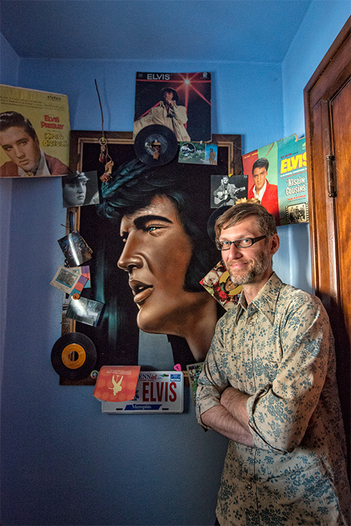 Bruce Worden with his Elvis shrine