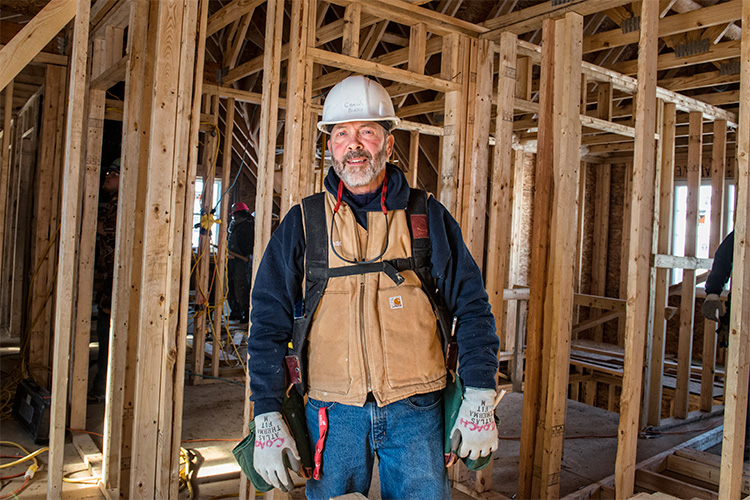 John Birko on site at one of AAPS' Homebuilding class houses