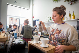 Sara Cusack making a pour over at Lab Cafe