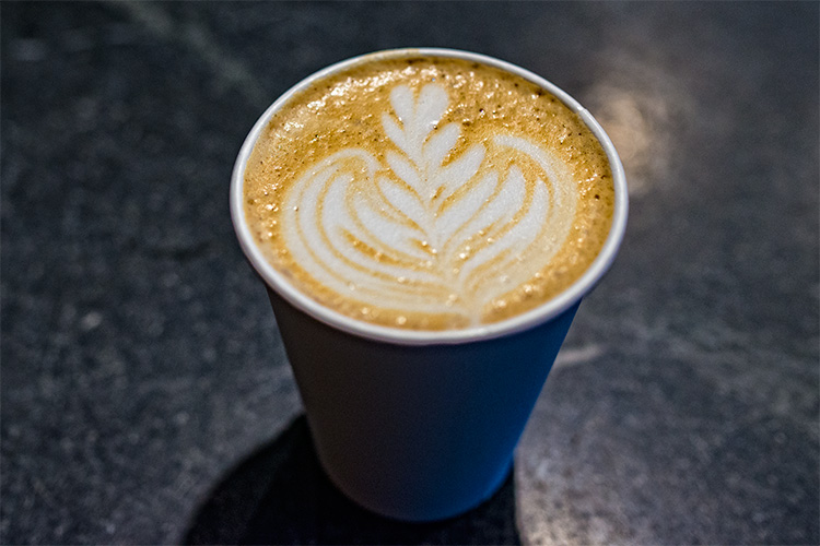 A latte from the Shinola Cafe