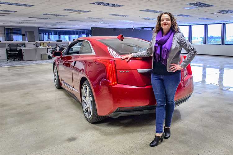 Annalisa Esposito Bluhm with a Cadillac ELR Engineering Mule for Maven car sharing technology