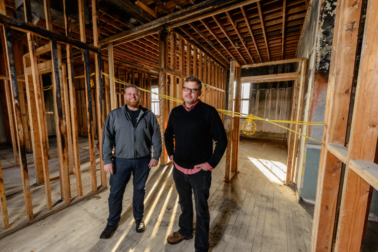 Jesse Kranyak and Mark Maynard in the space that will house future studios