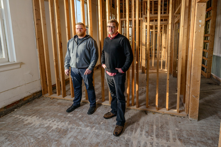 Jesse Kranyak and Mark Maynard in the future apartment space