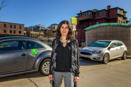 Nancy Shore with some Zipcar's at the Library Lot
