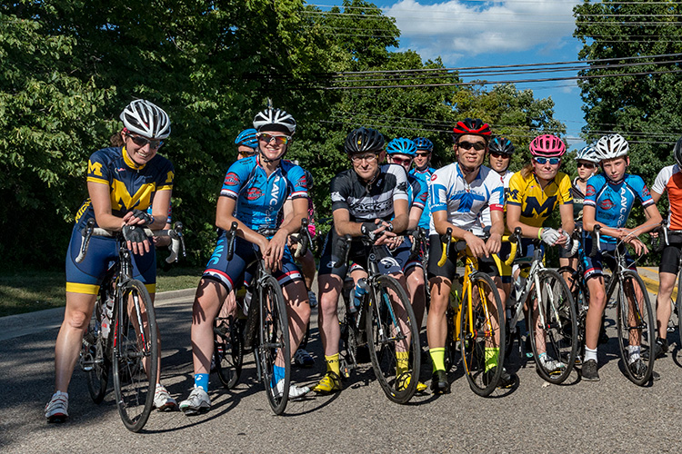 Cyclists head out for Huron River Drive from Forsythe Middle School in Ann Arbor