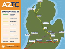 A map of the proposed Ann Arbor-Traverse City rail line.