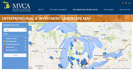 The Michigan Venture Capital Association's map of entrepreneurial resources in Michigan.