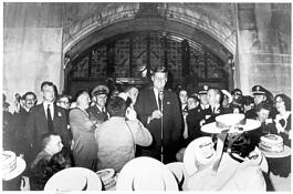 John F. Kennedy at the Michigan Union in 1960.