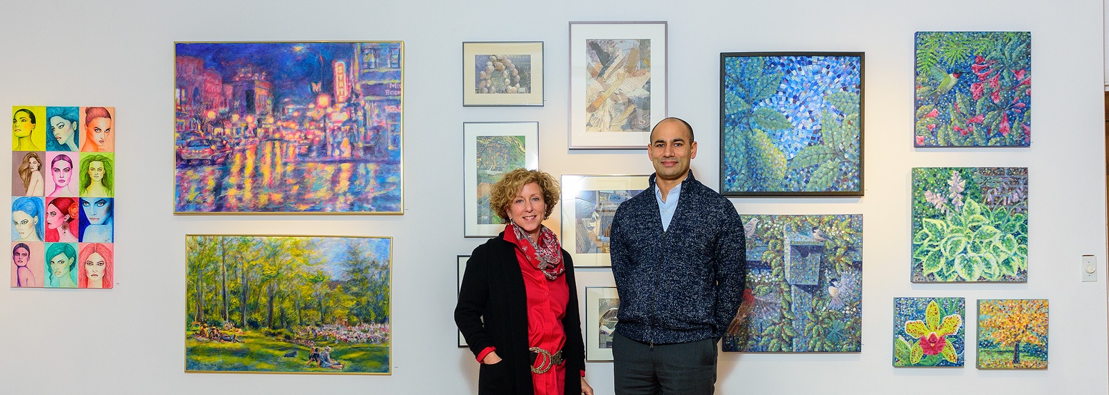Marie Klopf and Neel Hajra at the Ann Arbor Art Center