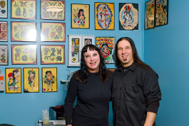Dana Forrester and James Trunko at Lucky Monkey Tattoo Parlor
