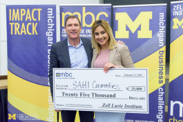 Zell Lurie Institute executive director Stewart Thornhill with Michigan Business Challenge winner Shelly Sahi.