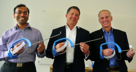 FlexDex cofounder Shorya Awtar, FlexDex chief marketing officer Greg Bowles, and surgeon and FlexDex cofounder James Geiger hold FlexDex surgical devices.