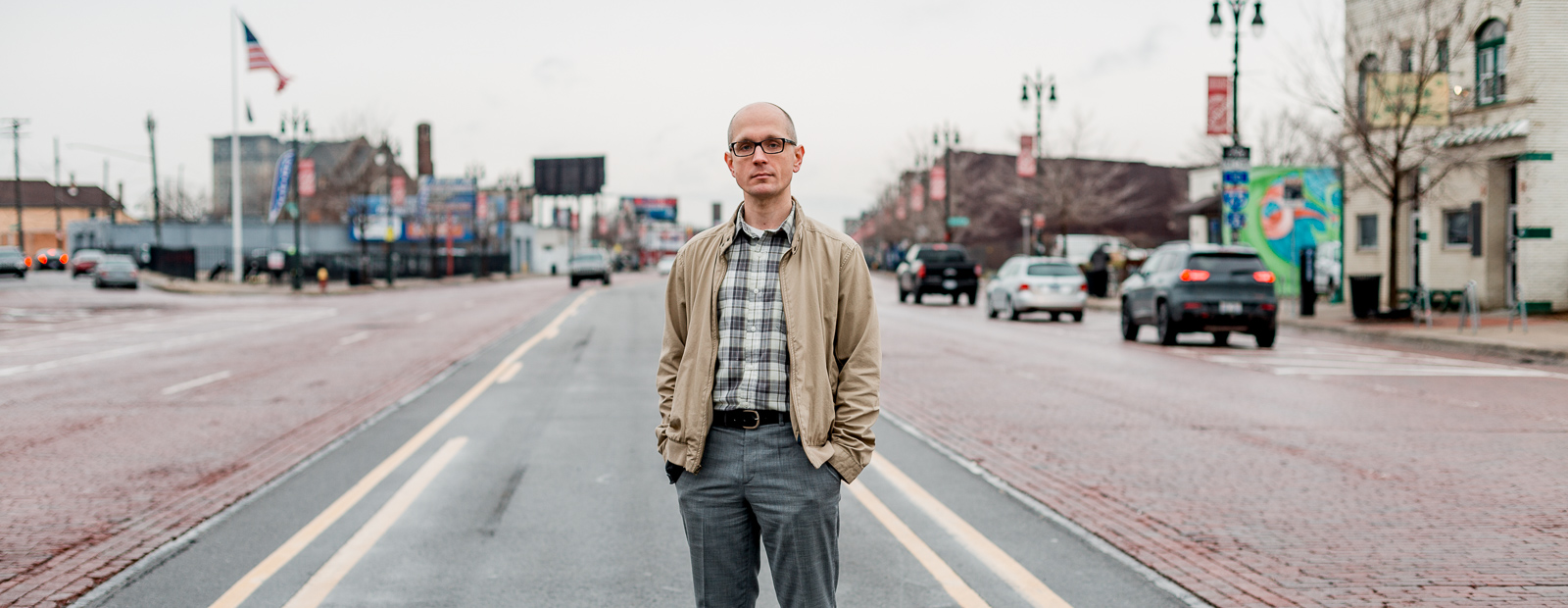 Historian Paul Szewczyk, who runs the blog Detroit Urbanism, in the middle of Michigan Avenue.