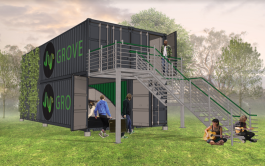 Conceptual renderings for Grove Studios' shipping container studio spaces.
