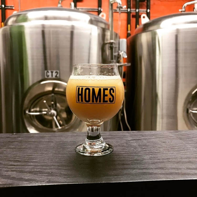 A glass of HOMES Gose Pun beer.