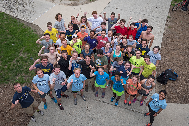 University of Michigan's MRun Club gathers for an afternoon run