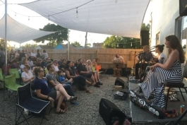 A concert in Cultivate's beer garden.