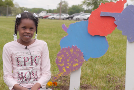 Holmes Elementary student A'Nya Wells with her sculpture.
