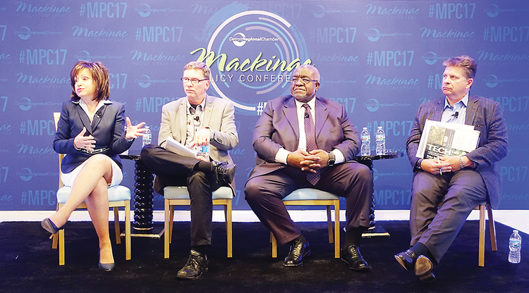 WCC President Dr. Rose B. Bellanca (left) is joined onstage at the Mackinac Policy Conference by (from left) Roger Curtis, director of the Michigan Department of Talent and Economic Development; Dr. Curtis Ivery, chancellor of Wayne County Community