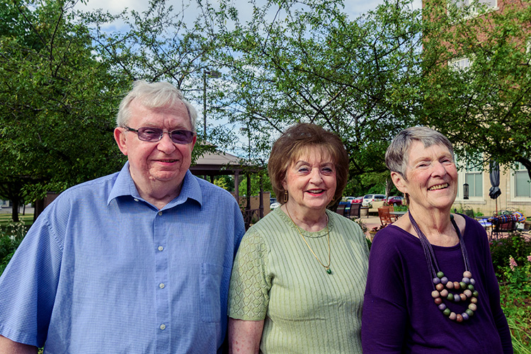 Cross Street Village Residents Lewis Riggs, Jane Vaught and Jayna Eckler
