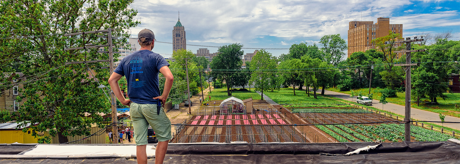 Tyson Gersh overlooking the Michigan Urban Farming Initiative