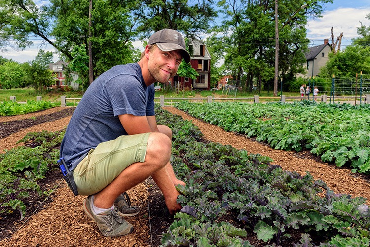 Tyson Gersh at the Michigan Urban Farming Initiative