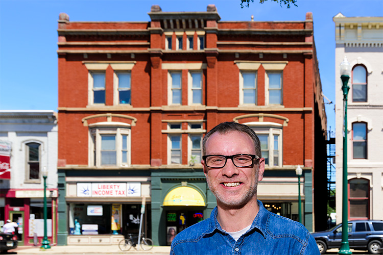 Matt Siegried in front of the location of the Ypsilanti Opera House where Frederick Douglass gave his third speech in Ypsilanti