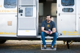 North American Tech Tour founder Paul Singh on the steps of his Airstream trailer.