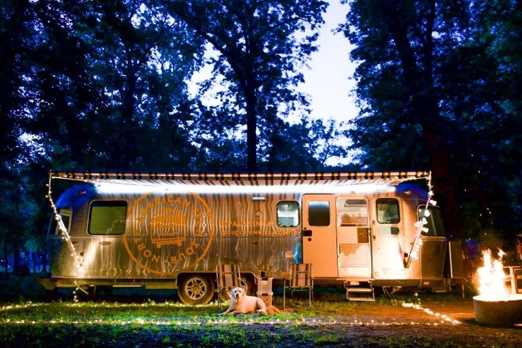 North American Tech Tour founder Paul Singh's Airstream trailer.