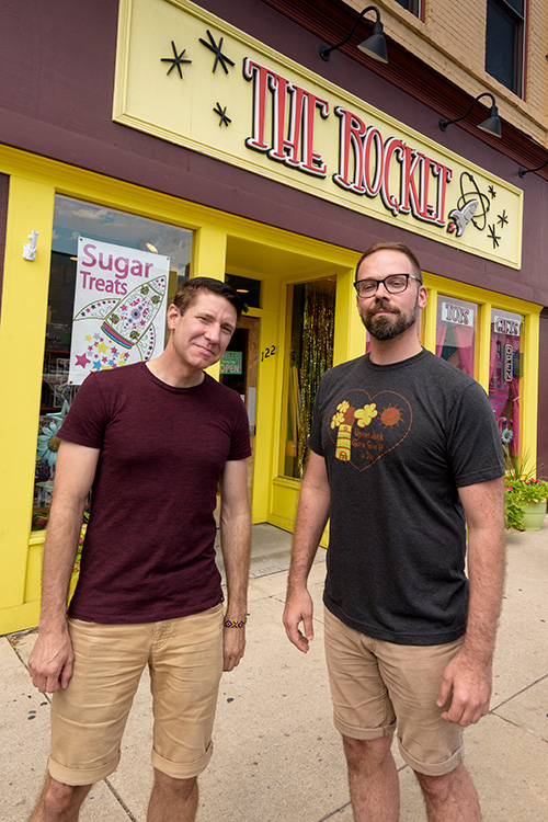 Owners Paul Balcom and Eli Morrissey at The Rocket Candy & Novelties
