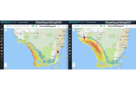 EigenPrism software displays a comparison of the first and last Hurricane Irma storm surge advisories for Florida.