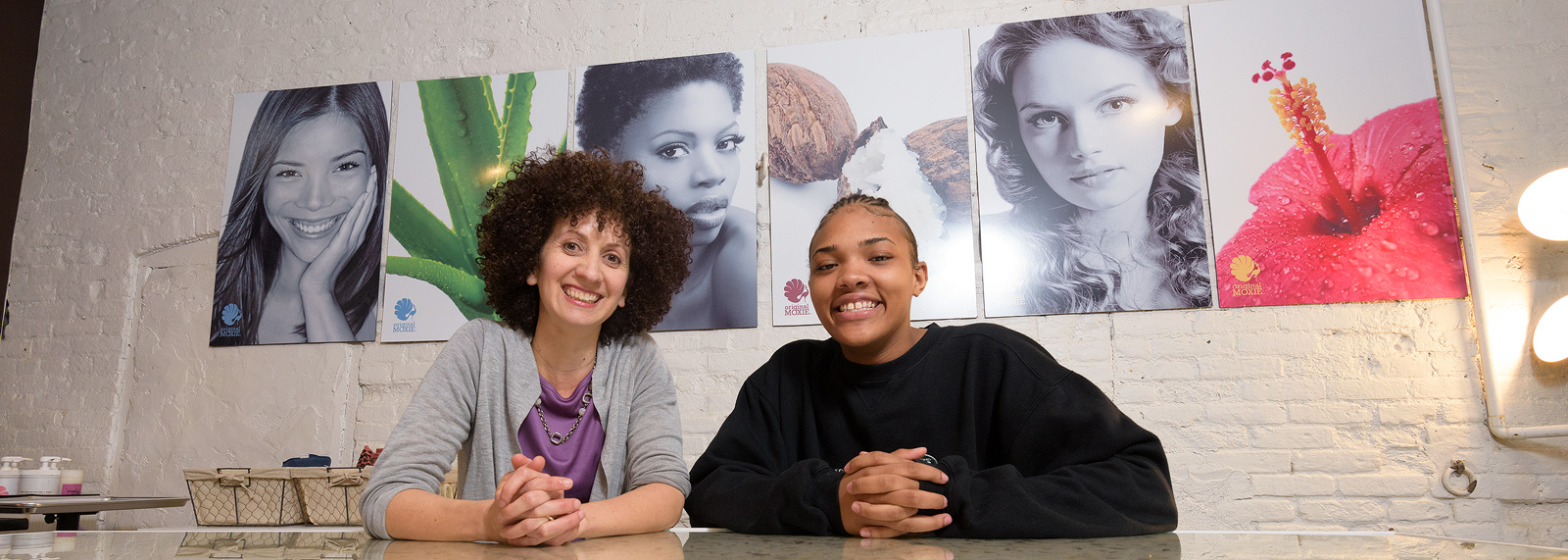 Original Moxie owner Rachel Blistein and her YCS @ Work intern U'nique Haywood.