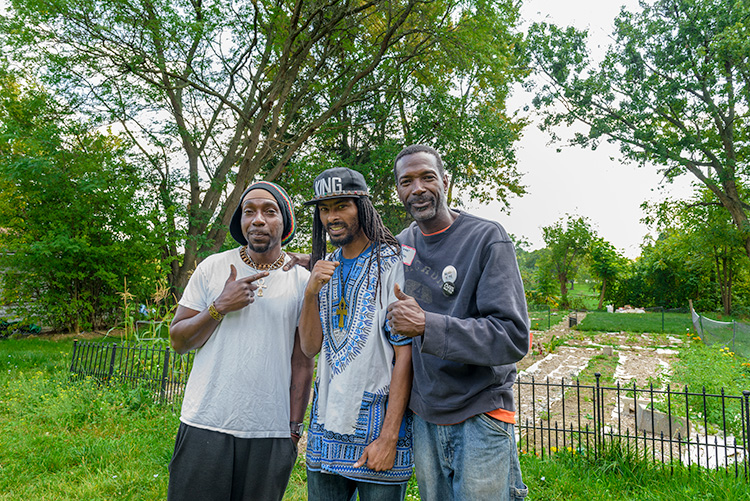 Jasper Gary-Bey, Noah Rucker and Melvin Parson at the Parkridge Community Garden