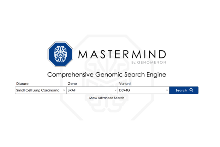Screenshot of Genomenon's Mastermind search engine.