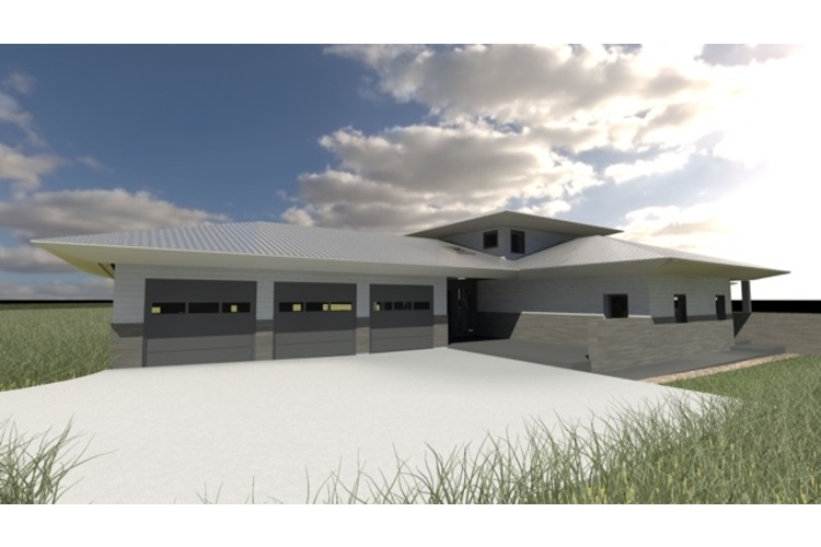 Rendering of the passive home's northeast exterior.