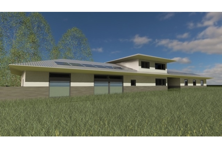 Rendering of the passive home's southern exterior.