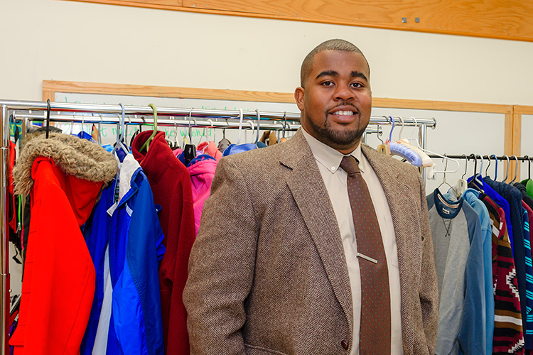 Marquan Jackson at the YCS Clothes Closet at Chapelle Elementary