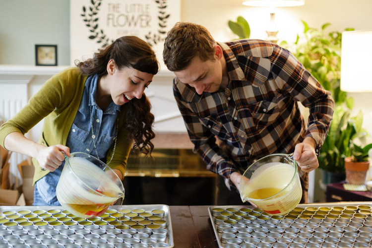 Little Flower Soap Co. owners Holly and Justin Rutt.