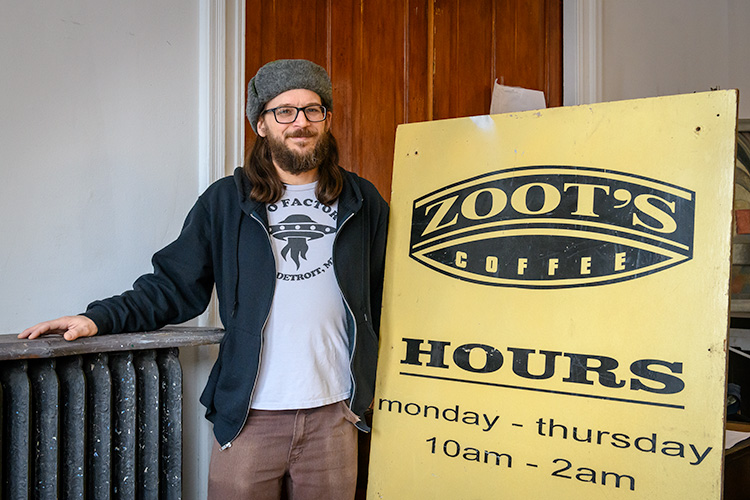 Zoot's owner Aaron Anderson standing by the former stage