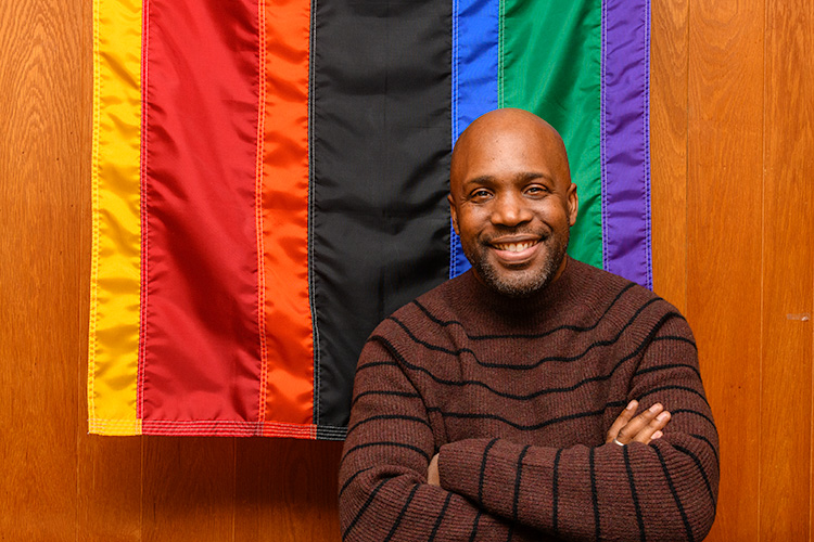 Curtis Lipscomb at LGBT Detroit's offices