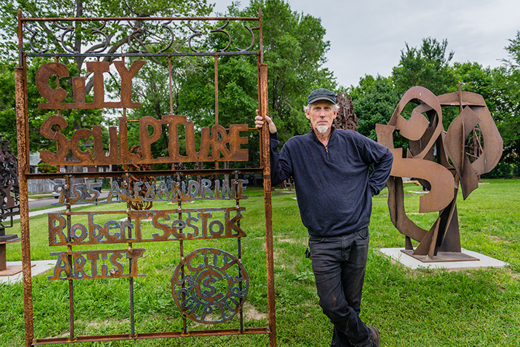 Robert Sestok at his City Sculpture Park in the Cass Corridor