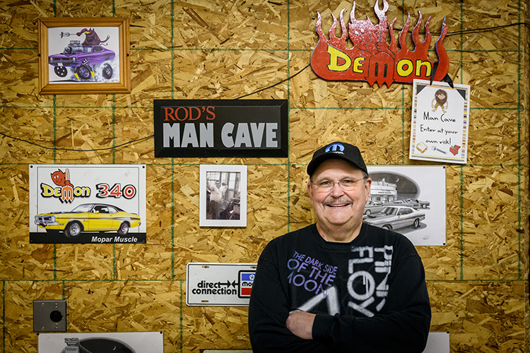 Ann Arbor Monster Record Show owner and organizer Rod Branham in his Chelsea man cave