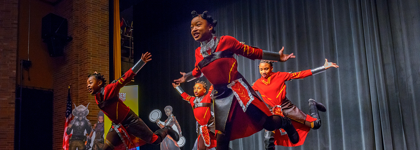 A performance at Ypsilanti Community High School before the class field trip to Black Panther <span class='image-credits'>Doug Coombe</span>